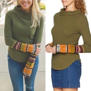 Free People NWT Mixed Up Cuff Sweater Thermal